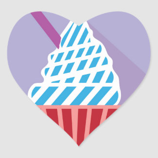 Cupcake with candle on the side heart sticker