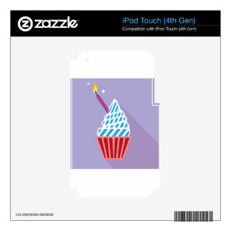 Cupcake with candle on the side iPod touch 4G skin