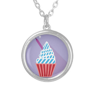 Cupcake with candle on the side round pendant necklace