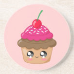 Cupcake with Cherry and Sprinkles Drink Coasters