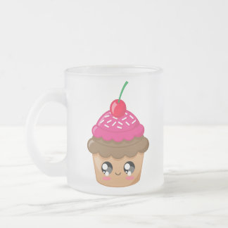 Cupcake with Cherry and Sprinkles Frosted Glass Coffee Mug