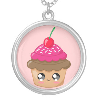 Cupcake with Cherry and Sprinkles Silver Plated Necklace