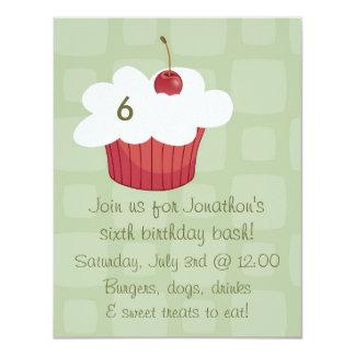 Cupcake with Cherry Birthday Invitation