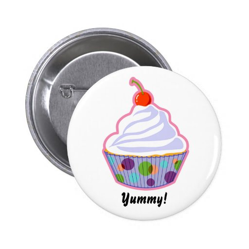 Cupcake with cherry pinback button
