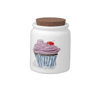cupcake with cherry candy jars