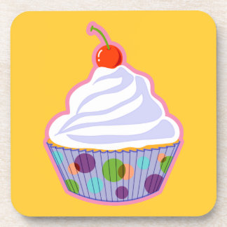 Cupcake with cherry drink coaster