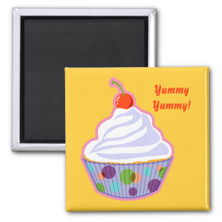 Cupcake with cherry 2 inch square magnet