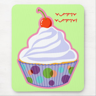 Cupcake with cherry mouse pad