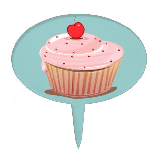 Cupcake with Cherry on Top Cake Topper