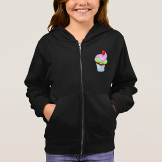 Cupcake With Cherry On Top Girls Hoodie
