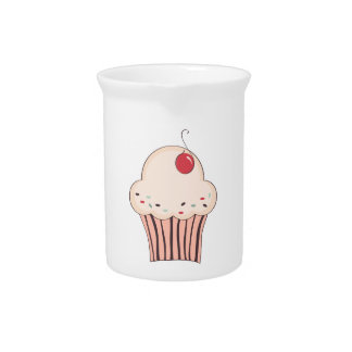 Cupcake with cherry beverage pitchers