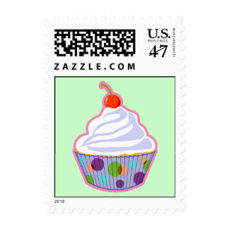 Cupcake with cherry postage