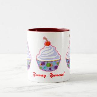 Cupcake with cherry Two-Tone coffee mug