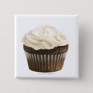 Cupcake with chocolate icing, studio shot 2 button