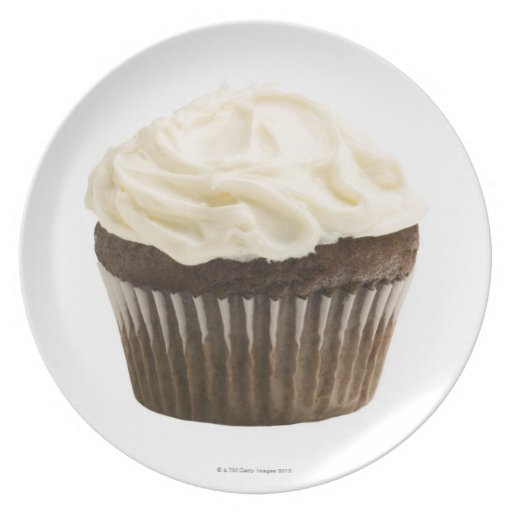 Cupcake with chocolate icing, studio shot 2 dinner plate