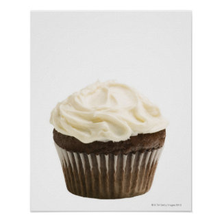 Cupcake with chocolate icing, studio shot 2 poster