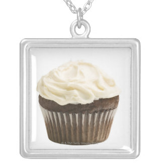 Cupcake with chocolate icing, studio shot 2 square pendant necklace