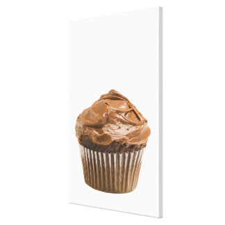 Cupcake with chocolate icing, studio shot stretched canvas print