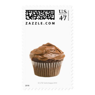 Cupcake with chocolate icing, studio shot postage