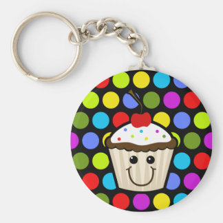 Cupcake with Colorful Sprinkles Keychain