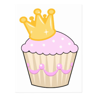cupcake with crown post cards