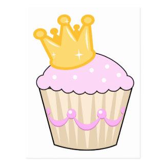 cupcake with crown postcard