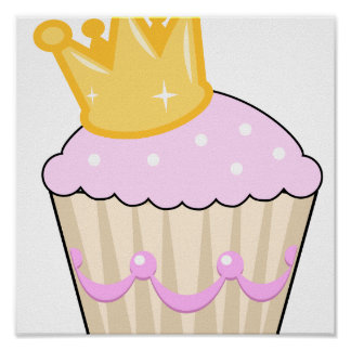 cupcake with crown poster
