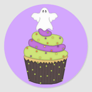 Cupcake with Ghost on Top Classic Round Sticker