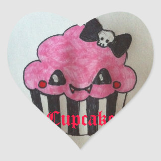 Cupcake with Heart Heart Sticker