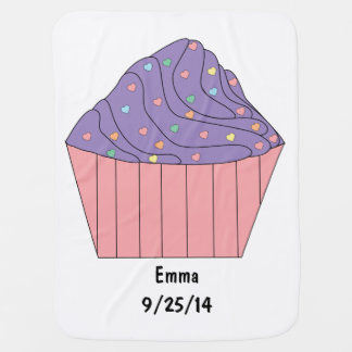 Cupcake with Heart Sprinkles Swaddle Blanket