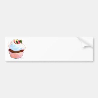 Cupcake with Pansy Art Design Bumper Sticker