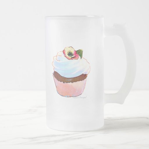 Cupcake with Pansy Art Design Frosted Mug