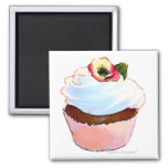 Cupcake with Pansy Art Design Magnet