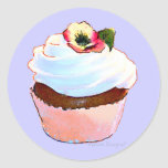 Cupcake with Pansy Art Design Stickers