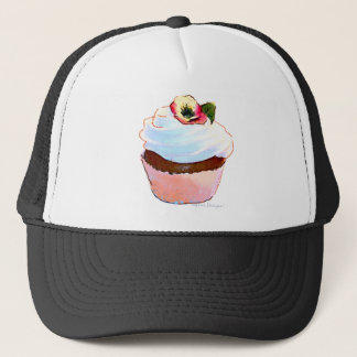 Cupcake with Pansy Art Design Trucker Cap