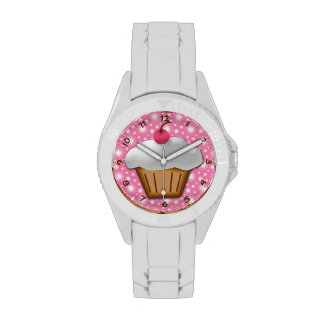 Cupcake with Pink Cherry on Top Wrist Watch