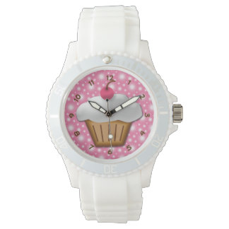Cupcake with Pink Cherry on Top Wristwatch