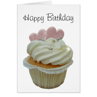 Cupcake with pink hearts card