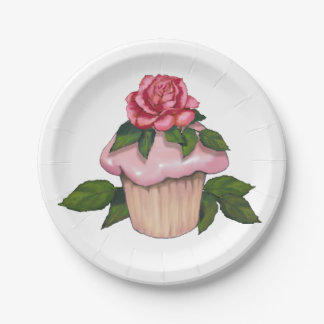 Cupcake with Pink Icing and Rose on Top Paper Plate