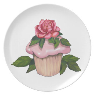 Cupcake with Pink Icing and Rose, Original Art Party Plate