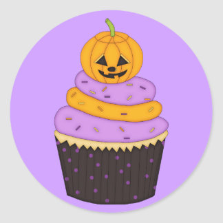 Cupcake with Pumpkin on Top Classic Round Sticker