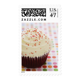 Cupcake with sprinkles postage stamp