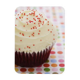 Cupcake with sprinkles rectangular photo magnet