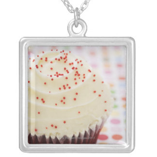 Cupcake with sprinkles silver plated necklace