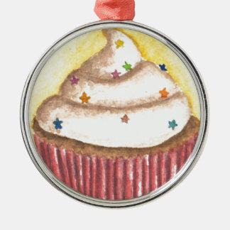 Cupcake with Star Sprinkles Christmas Ornament