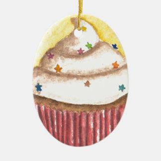 Cupcake with Star Sprinkles Christmas Ornaments