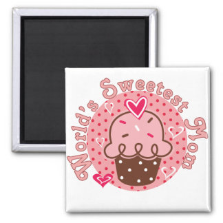 Cupcake World's Sweetest Mom Tshirts and Gifts 2 Inch Square Magnet
