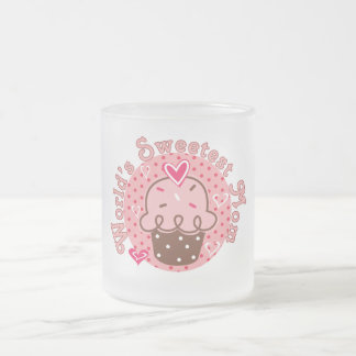 Cupcake World's Sweetest Mom Tshirts and Gifts Frosted Glass Coffee Mug