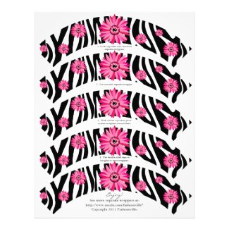 Cupcake Wrappers Daisy Zebra Pink Letterhead