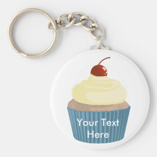 Cupcake-Yellow and Blue Basic Round Button Keychain
